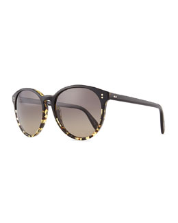Oliver Peoples Corie Round Sunglasses, Black/Tortoise