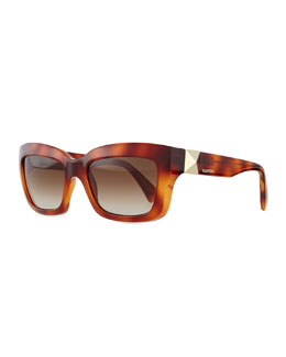 Rockstud-Temple Rectangular Sunglasses, Blonde Havana