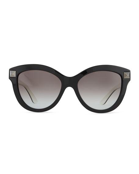 e52c5099084c Valentino Rockstud-Front Cat-Eye Sunglasses, Black