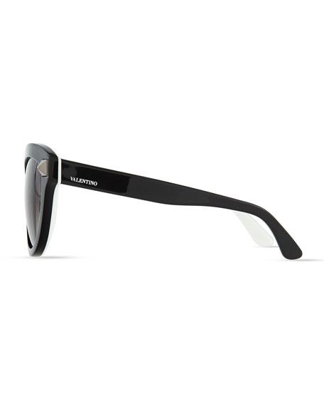 Rockstud-Front Cat-Eye Sunglasses, Black