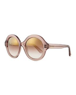 Rockstud Round Mirror Sunglasses, Nude