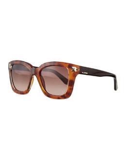 Rockstud Square Sunglasses, Blonde Havana Tortoise