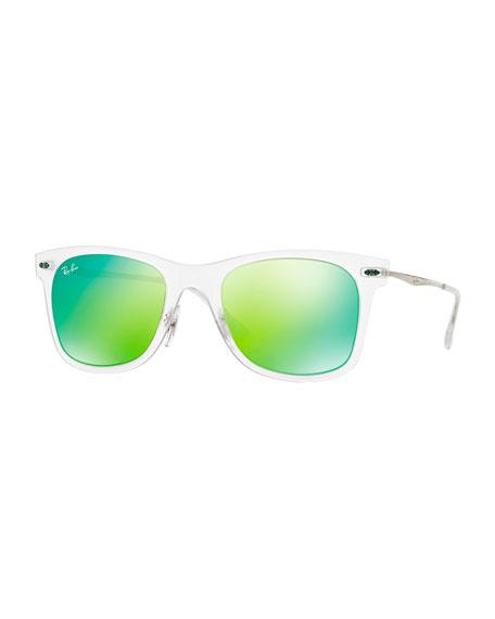Ray Ban Wayfarer Mirror Matte Clear Sunglasses Green