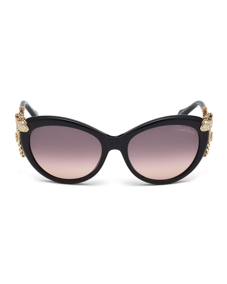 Snake-Temple Butterfly Sunglasses, Black