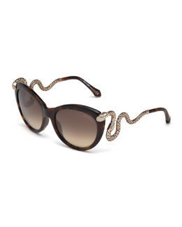 Roberto Cavalli Snake-Temple Butterfly Sunglasses, Dark Brown