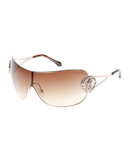 Roberto Cavalli Shield Sunglasses with Crystal Monogram Logo, Rose Gold