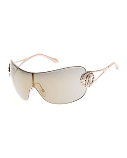 Mirrored Shield Sunglasses with Crystal Monogram Logo, Rose Gold