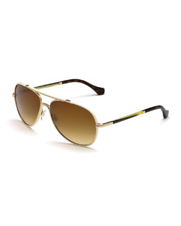 Leather-Covered Aviator Sunglasses, Ivory