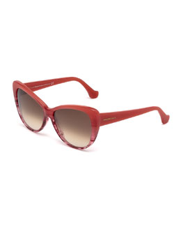 Ombre Cat-Eye Sunglasses, Coral
