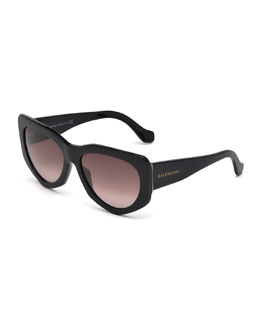 Angled Cat-Eye Sunglasses, Black
