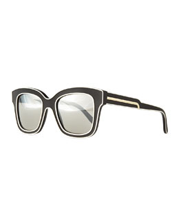 Acetate Square Sunglasses, Black