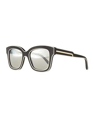 Acetate Square Sunglasses, Black