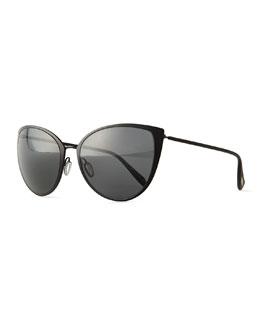 Jade Cat-Eye Sunglasses, Black