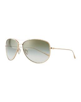 Kempner Titanium Aviator Sunglasses, Olive