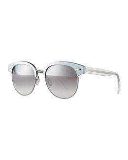 Shaelie Mirrored Semi-Rimless Sunglasses, Frost
