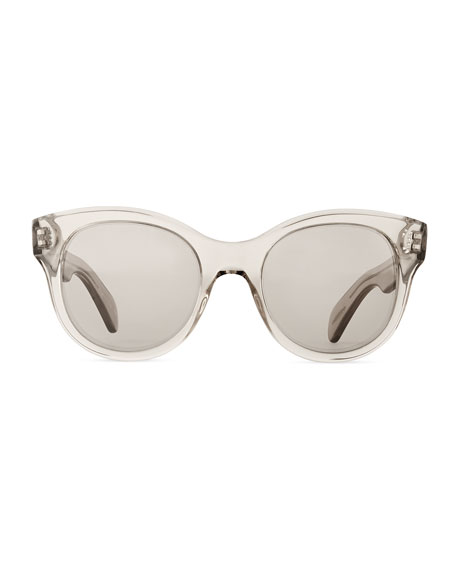 Jacey Mirror Oval Sunglasses, Gray