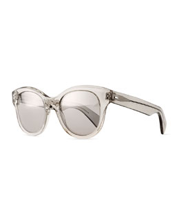Jacey Mirror Oval Sunglasses, Gray