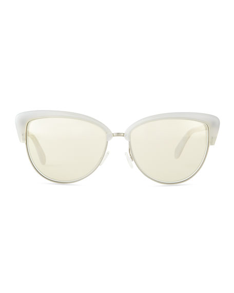 Alisha Mirror Butterfly Sunglasses, Pearl