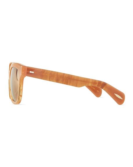 Brinley Mirror Square Sunglasses, Terra-Cotta/Peach