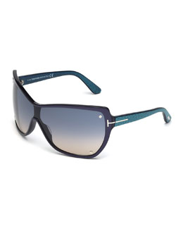 Ekaterina Shield Sunglasses with Screws, Blue