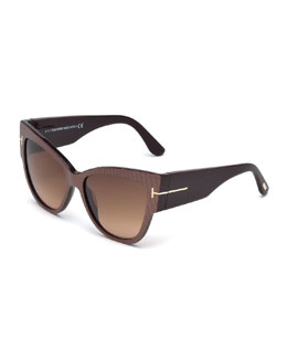 Anoushka Butterfly Sunglasses, Iridescent Brown