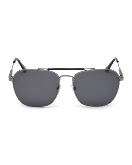 Edward Polarized Square Aviator Sunglasses, Black/Gunmetal