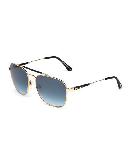f03937b66b3 TOM FORD Edward Polarized Square Aviator Sunglasses