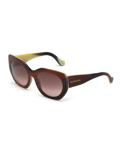 Multi-Tone Angled Square Sunglasses, Brown