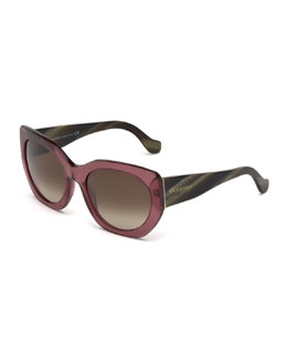 Multi-Tone Angled Square Sunglasses, Wine