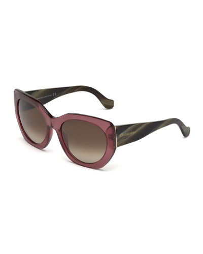Multi-Tone Angled Square Sunglasses, Wine