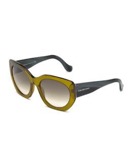 Multi-Tone Angled Square Sunglasses, Olive