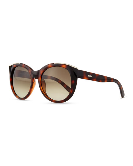 Dallia Crystal Arrow Round Sunglasses, Havana