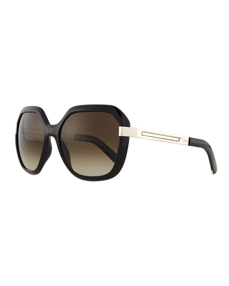 Bianca Square Sunglasses, Black