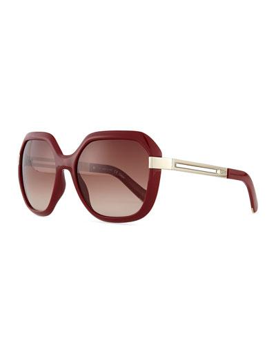 Bianca Square Sunglasses, Bordeaux