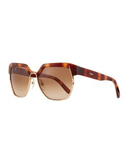 Universal Fit Dafne Hexagonal Sunglasses, Havana