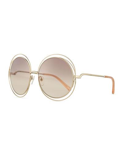 Carlina Round Wire Metal Sunglasses, Rose Golden/Peach