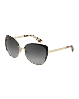 Polarized Cat-Eye Sunglasses, Golden/Black