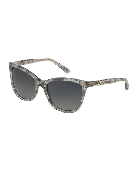 Polarized Acetate Cat-Eye Sunglasses, Gray Marble