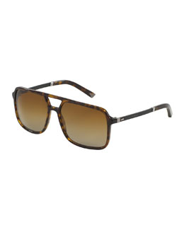 Mixed-Media Polarized Rectangular Aviator Sunglasses, Havana Tortoise