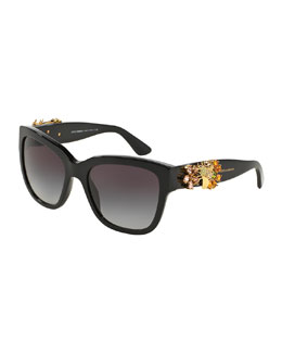 Jewel-Encrusted Sunglasses, Black