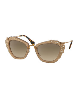 Jeweled Cat-Eye Acetate Sunglasses, Light Brown