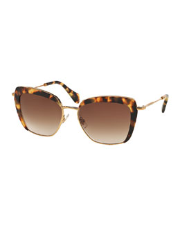 Cat-Eye Acetate Sunglasses, Havana