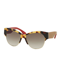 Semi Rimless Cat-Eye Sunglasses, Havana