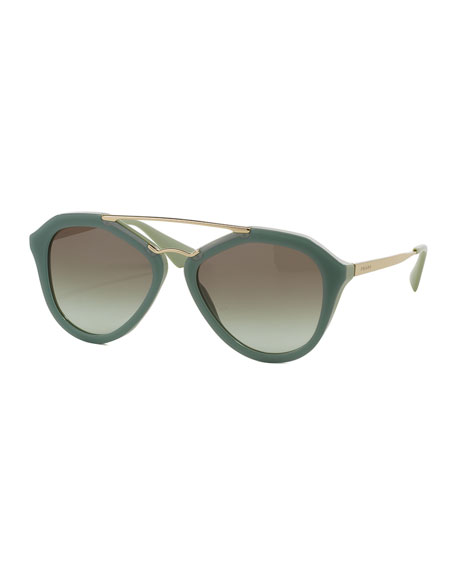 Acetate/Metal Aviator Sunglasses, Green