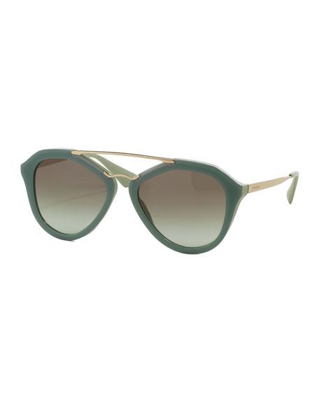 Acetate/Metal Aviator Sunglasses, Green