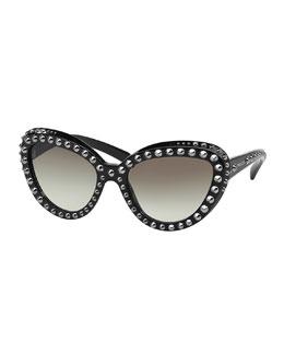 Cat-Eye Studded Sunglasses, Black