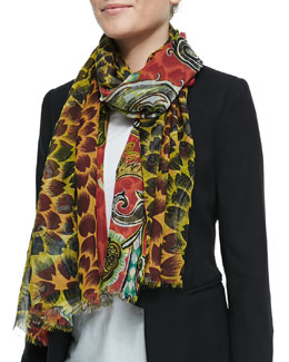 Double-Sided Floral/Paisley Scarf, Red/Yellow
