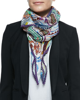 Sparkle Paisley Scarf with Scalloped Trim