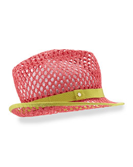 Johnny Grosgrain-Trim Hat, Pink/Green