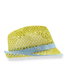 Johnny Grosgrain-Trim Hat, Green/Blue